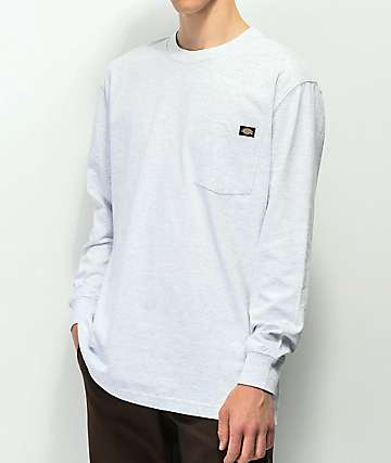 Dickies Ash Grey Heavyweight Long Sleeve Pocket T-Shirt