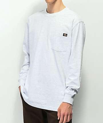 Dickies Ash Grey Heavyweight Long Sleeve Pocket T-Shirt