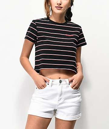 Dickies Baby Stripe Black Crop T-Shirt