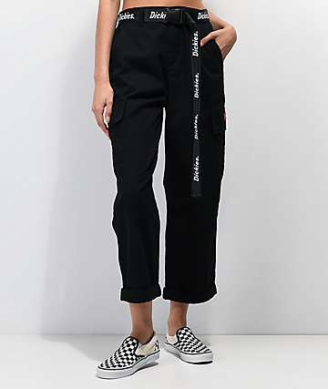 Dickies Belted Utility Black Cropped Cargo Pants