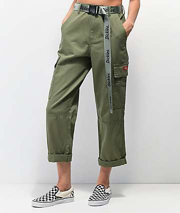 Dickies Belted Utility Olive Cropped Cargo Pants