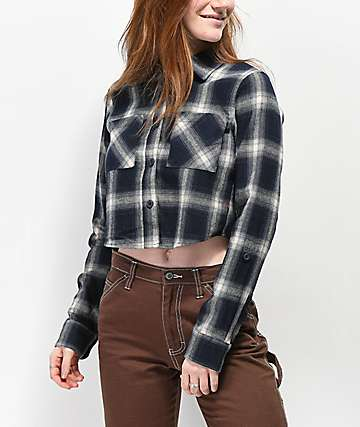 Dickies Black & White Crop Flannel Shirt