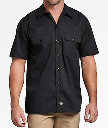 Dickies Black Button Up Work Shirt
