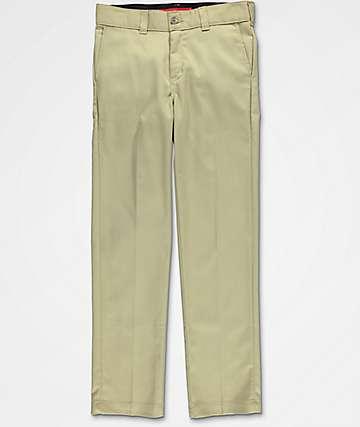 Dickies Boys Slim Flex Khaki Pants