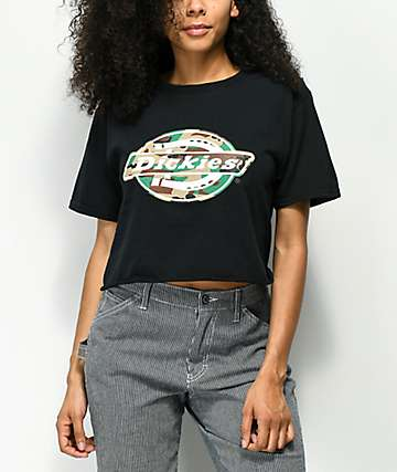 Dickies Camo Horseshoe Black Crop T-Shirt