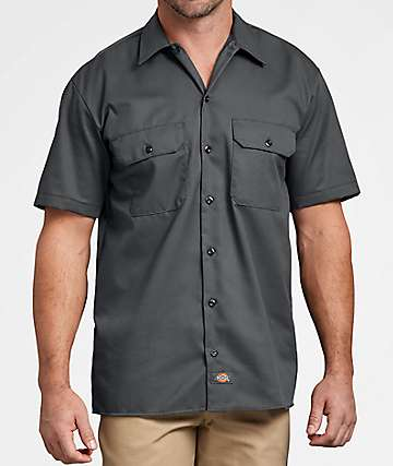 Dickies Charcoal Button Up Work Shirt