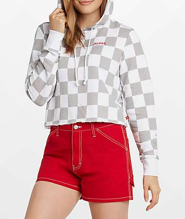 Dickies Checker Grey & White Crop Hoodie