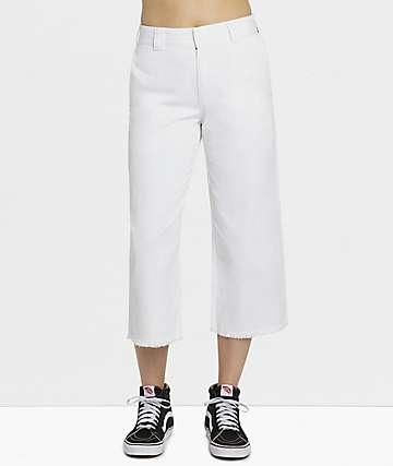 Dickies Crop Hem White Work Pants