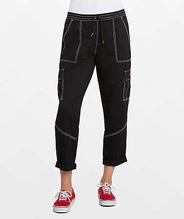 Dickies Cuffed Elastic Waist Black Cargo Pants