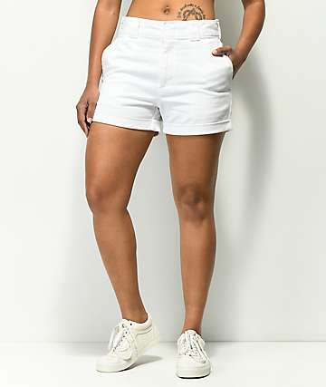 Dickies Cuffed White Work Shorts