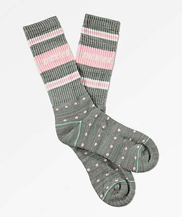 Dickies Grey & Pink Polka Dot Crew Socks