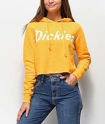 Dickies Logo Yellow Crop Hoodie