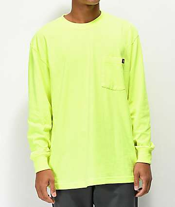Dickies Neon Green Long Sleeve Pocket T-Shirt
