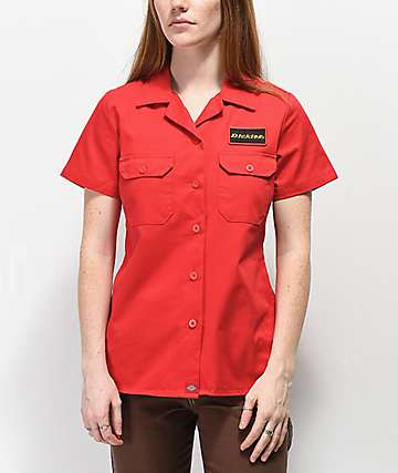 Dickies Patch Red Button Up Work Shirt