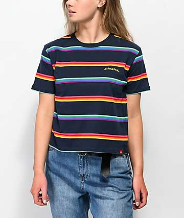 f0c8d5f3235 Dickies Rainbow Stripe Blue Crop T-Shirt