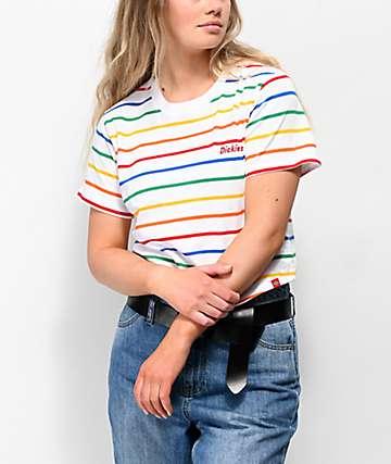 Dickies Rainbow Stripe White Crop T-Shirt