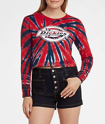 Dickies Red & Blue Tie Dye Crop Long Sleeve T-Shirt