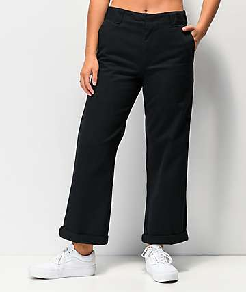 Dickies Roll Hem Black Crop Work Pants