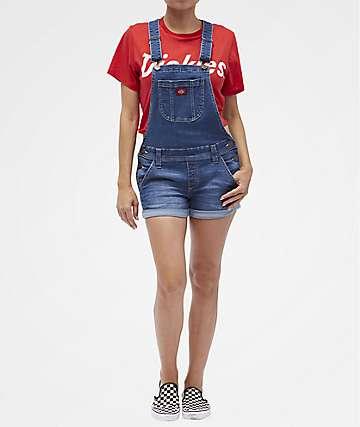 Dickies Roll Hem Medium Blue Overall Shorts