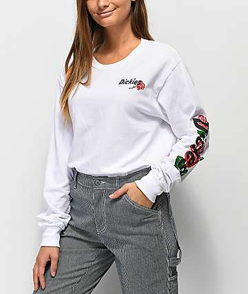 Dickies Rose Logo White Long Sleeve T-Shirt