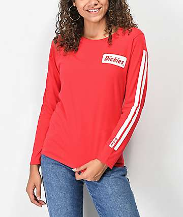Dickies Signature Stripe camiseta roja de manga larga