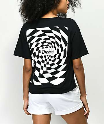 Dickies Spiral Checker Black Crop T-Shirt