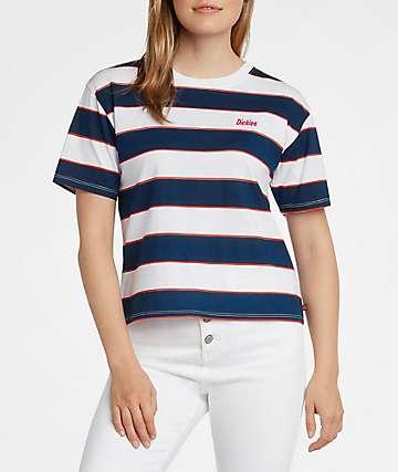 Dickies Stripe Navy & White Crop T-Shirt