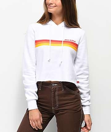 Dickies Stripe White Crop Hoodie