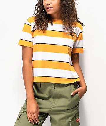 Dickies Tomboy Yellow Striped Crop T-Shirt