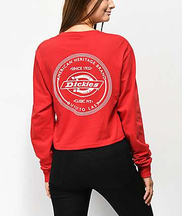 Dickies Vintage Stamp Red Long Sleeve Crop T-Shirt