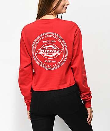 Dickies Vintage Stamp camiseta corta de manga larga roja