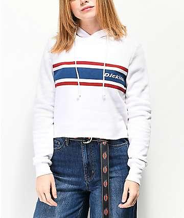 Dickies Vintage Stripe White Crop Hoodie
