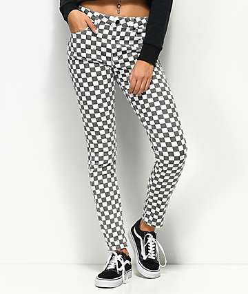 Dickies White & Black Checkered High Rise Skinny Jeans