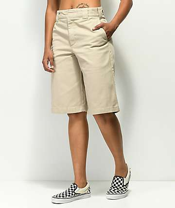 Dickies Wide Leg Khaki Work Shorts