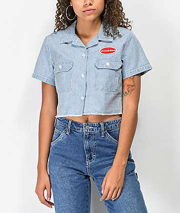 Dickies Work Stripe Crop Button Up Shirt