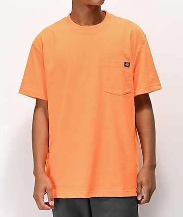 Dickies camiseta naranja neón con bolsillo