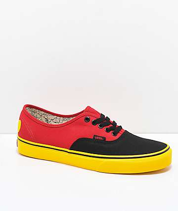 Disney by Vans Authentic Mickey Red & Yellow Skate Shoes