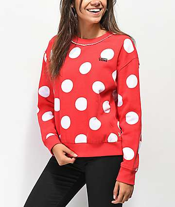 Disney by Vans Minnie Red Boxy Crew Neck Sweatshirt