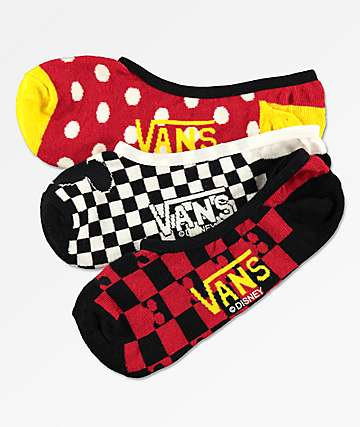 Disney x Vans Mickey Canoodle 90th 3 Pack No Show Socks