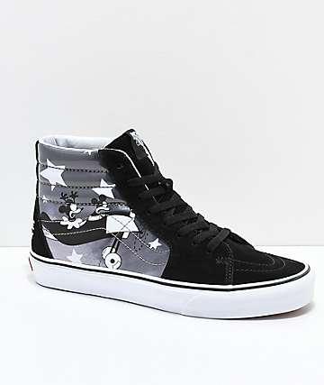 fa6c83444084ff Disney x Vans Sk8-Hi Mickey Plane Crazy Black   White Shoes