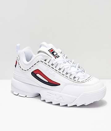 73f8b128d55f Disruptor II Logo Taping White Shoes from FILA