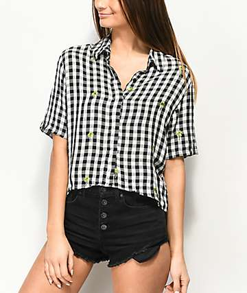 Dizzy Lizzy Gingham Palm Tree Short Sleeve Top