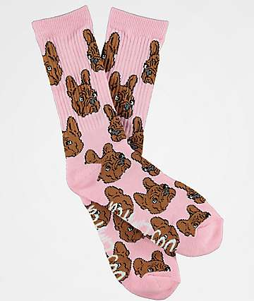 Dog Limited Frenchie Face Pink Crew Socks