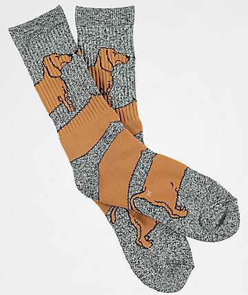 Dog Limited Weiner Wrap Grey Crew Socks