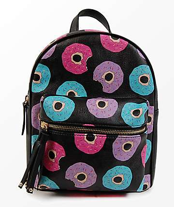 Donut Black Mini Backpack