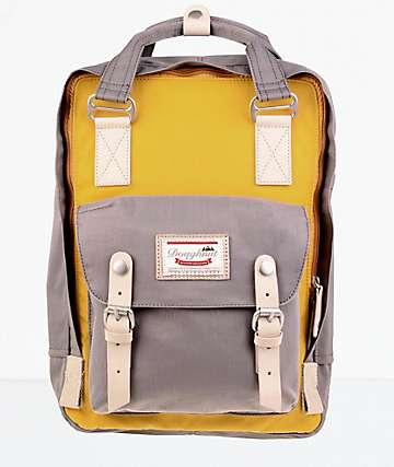 Doughnut Macaroon Mustard & Light Grey Backpack