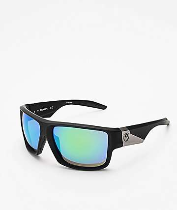 Dragon Deadlock Matte Black & Green Ion Sunglasses