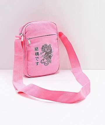 Dragon Kanji bolso de hombro rosa