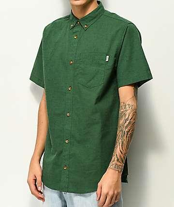 Dravus Alvin Green Nep Short Sleeve Button Up Shirt
