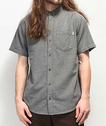 Dravus Alvin Grey Woven Short Sleeve Button Up Shirt